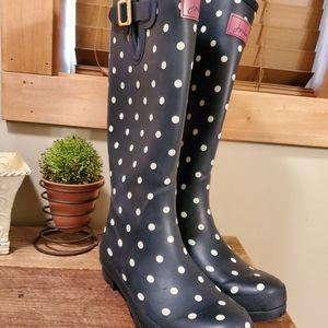 Joules Rain Boots Wellies Navy/White Polka Dot Sz9